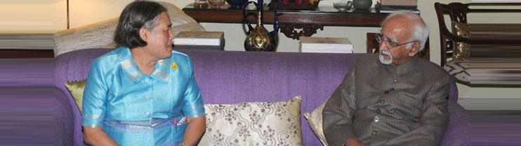 HRH Princess Maha Chakri Sirindhorn of Thailand meeting Vice President, Shri Mohd. Hamid Ansari, in New Delhi on February 27, 2014