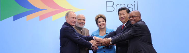 The Prime Minister, Shri Narendra Modi with the President of Brazil, Ms. Dilma Rousseff, the President of the People's Republic of China, Mr. Xi Jinping, the President of the Russian Federation, Mr. Vladimir Putin and the President of the Republic of Sout
