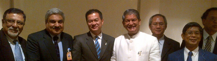 Meeting between H.E. Mr. Harish Rawat, Indian Minister of Water Resources and H.E. Mr. Preecha Rengsomboonsuk, Thai Minister of Natural Resources and Environment during Chiangmai Asia Pacific Water Summit on May 20, 2013