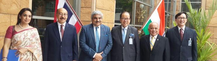 Shri Anil Wadhwa, Secretary, MEA with Mr. Vitavas Srivihok, Deputy Permanent Secretary, MoFA of Thailand on 26 June 2015 in Bangkok