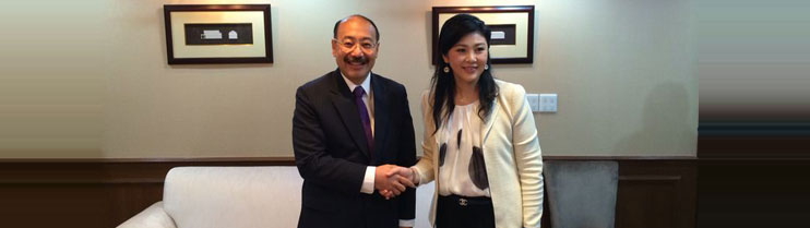Ambassador Harsh Vardhan Shringla called on H.E. Ms. Yingluck Shinawatra, Prime Minister of Thailand on 26 March,2014, at Office of the Permanent Secretary of Defence (Chaengwattana)