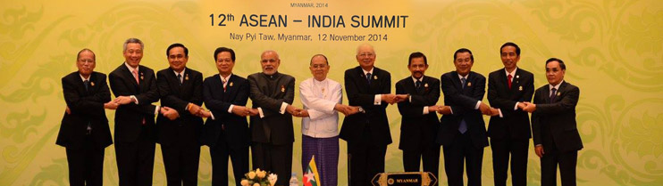 Prime Minister Naendra Modi  with ASEAN leaders during the 12th ASEAN-India summit in Nay Pyi Taw, Myanmar (12th November, 2014).