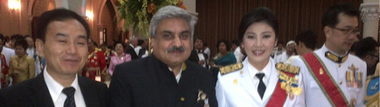 Ambassador Anil Wadhwa with Prime Minister of Thailand Yingluck Shinawatra at the Coronation Day reception hosted by her at Government House on May 5, 2013.