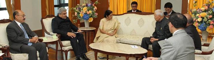 EAM Sushma Swaraj calls on HE Prem Tinsulanonda, President Privy Council Thailand on 29 June, 2015