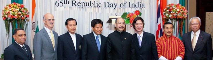 Dr. Glen Chatlier (Assumption University), Australian Ambassador, Dr. Kanthathi, Ambassador Appinant Pavanarit , Ambassador of Bhutan