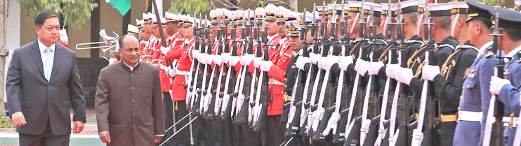 The Defence Minister, Shri A. K. Antony accompanied by his Thai counterpart Air Chief Marshal Sukumpol Suwanatat inspecting an Inter-Services Guard of Honour, in Bangkok on June 06, 2013.