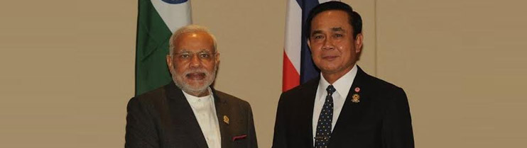 Prime Minister Narendra Modi met Prime Minister General Prayut Chan-o-cha of Thailand on the sidelines of ASEAN summit in Nay Pyi Taw, Myanmar (12 November, 2014