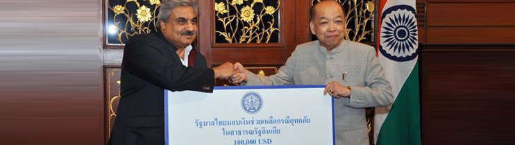 Ambassador Anil Wadhwa with Foreign Minister Surapong Tovichakchaikul at Ministry of Foreign Affairs on June 27, 2013