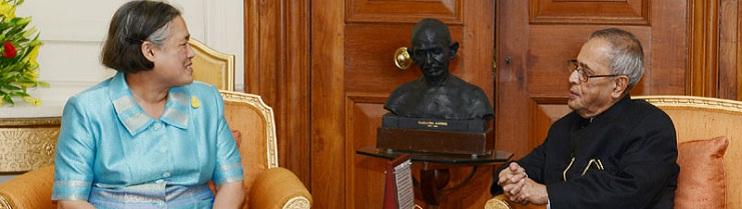 Her Royal Highness Princess Maha Chakri Sirindhorn of Thailand calling on the President, Shri Pranab Mukherjee, at Rashtrapati Bhavan, in New Delhi on February 27, 2014.