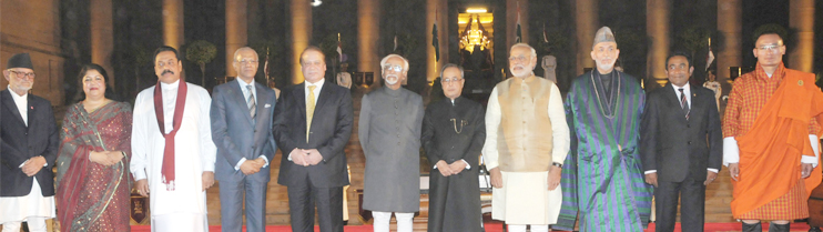 President, Vice President and Prime Minister with Leaders of all eight countries invited to Swearing-in Ceremony.