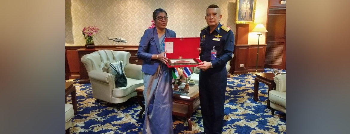 Ambassador Suchitra Durai calls on Air Chief Marshall Airbull Suttiwan, Commander-in-Chief of the Royal Thai Air Force on 16 November 2020