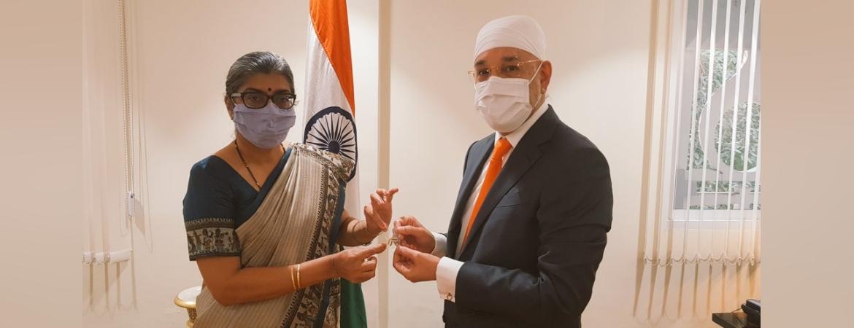 Ambassador Suchitra Durai receives H.E Senator Gurdist Chansrichawla, member of Senate Foreign Affairs Committe on 28 December 2020