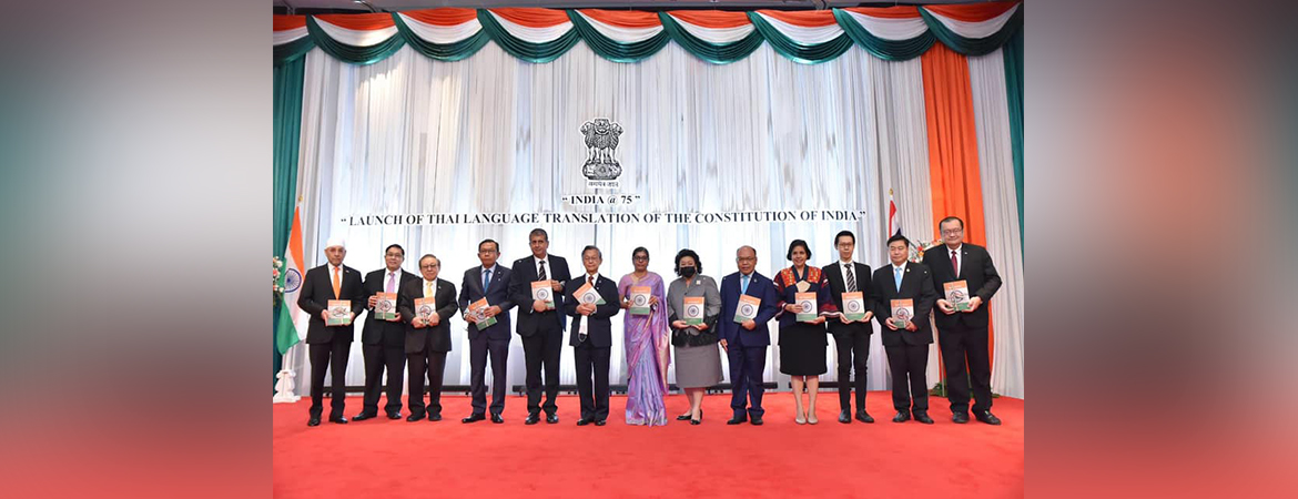 India@75 celebrations  launched in Bangkok on 12 March 2021 with release of Thai translation of Constitution of India
