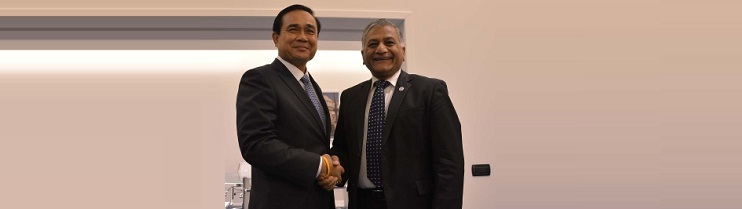 Prime Minister Prayut Chan-o-cha with General Vijay Kumar Singh, Minister of State for External Affairs at Milan.