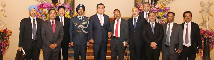 Sh. Ajit Doval, NSA India with Prime Minister of Thailand HE Gen Prayut Chan-o-cha, along with accompanying delegation, on 1 April, 2015 in Bangkok