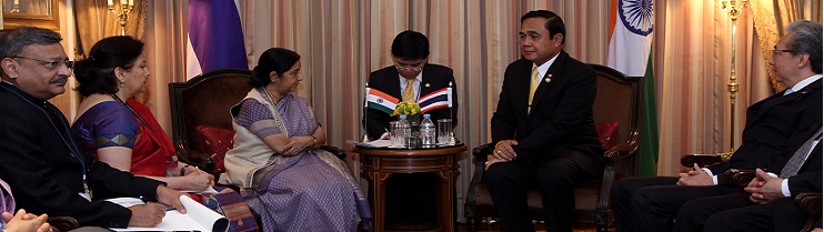 Smt. Sushma Swaraj calling on H.E. Prayut Chan-o-Cha, Prime Minister of Thailand during his State visit (16-18 June, 2016)